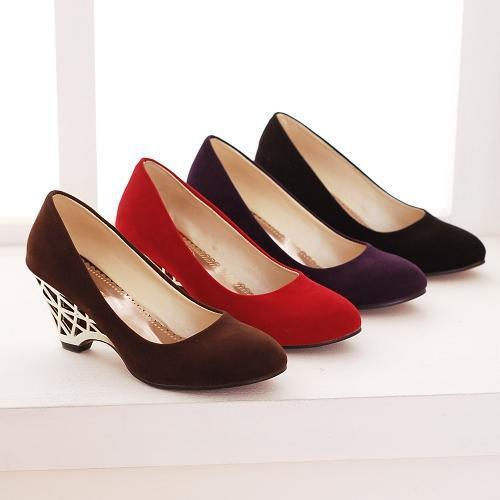 High Heels Women Wedge Heels Shoes Cheap Gold High Heels Office Ladies Black Red Pumps Spring Autumn Shoes Purple Size 34 -39-SLIPS-SheSimplyShops