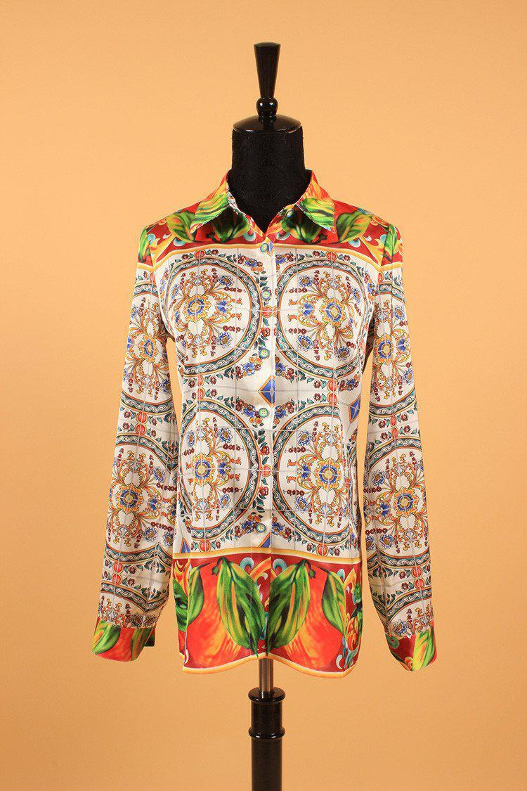 Summer Spring New European Elegant Sicily Print Slim OL Women's Long-Sleeve Fashion Blouse-Blouse-SheSimplyShops