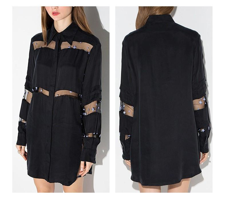 HDY Haoduoyi Women Black Stars Embroidery Shirt-dress Loose fashion Long sleeve Sheer Short Party dresses-Dress-SheSimplyShops