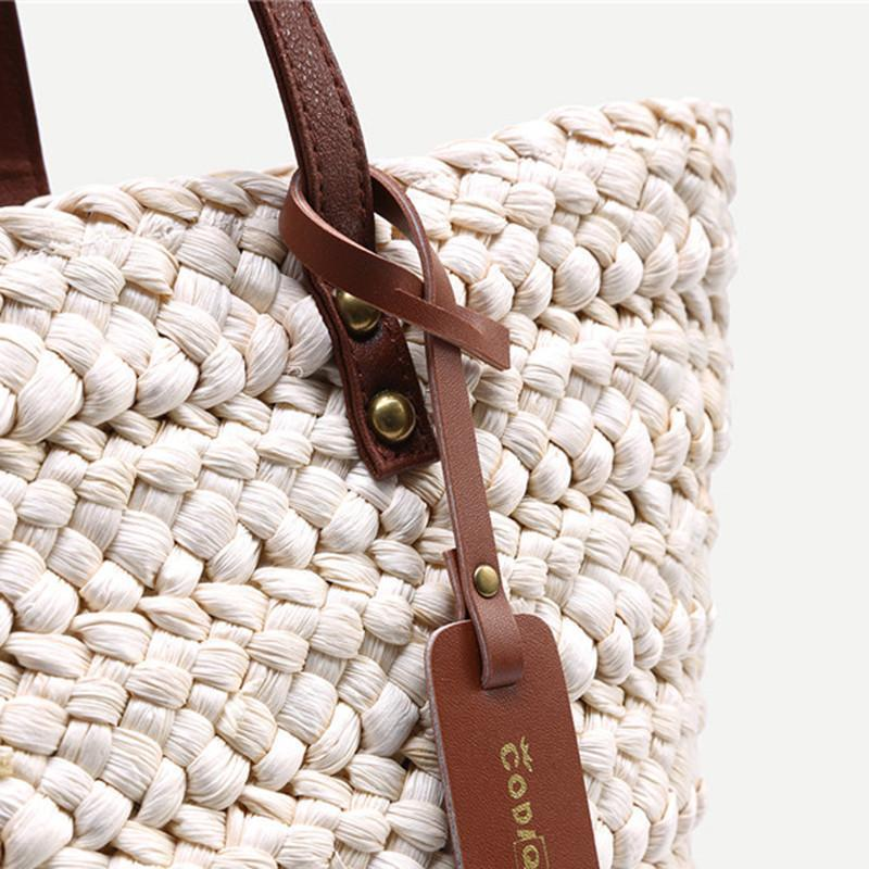 SheIn Ladies New Fashion High Street Handbags Womens Casual Beach Wear White Contrast Handle Straw Large Tote Bag-Tops-SheSimplyShops