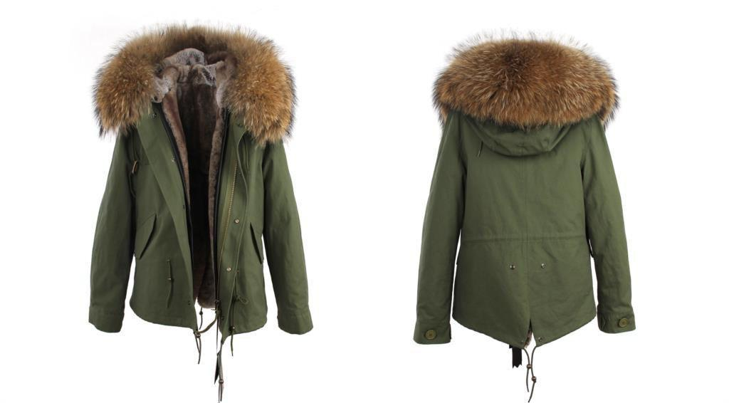Elegant raccoon fur collar hooded jacket-Coats & Jackets-SheSimplyShops
