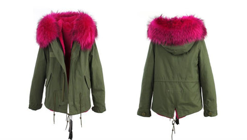 Large raccoon fur collar hooded coat parkas outwear 2 in 1 detachable lining winter jacket-JACKET-SheSimplyShops