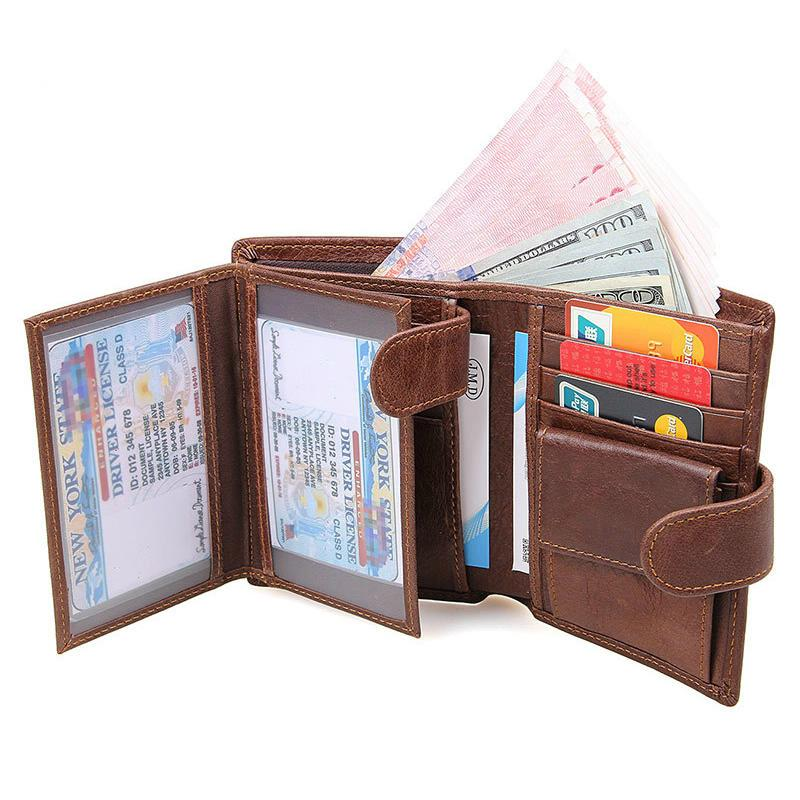 New Genuine Leather Men Wallet RAID Blocking Zipper Purses With Coin Pocket 100% Top Cow Leather Male Short Wallets-Tops-SheSimplyShops