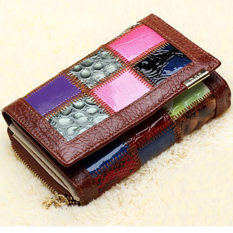 New Fashion Genuine Leather Women Wallet Candy Color Patchwork Lady Short Wallet Female Mobile Coin Purse Bag Clutch-BAGS-SheSimplyShops