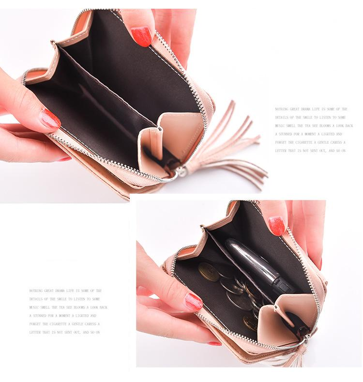 Pu Leather Wallet Female Short Wallets Coin Purse Fashion Tassel Women Slim Wallets Small Clutch Bag Ladies Card Holders-BAGS-SheSimplyShops