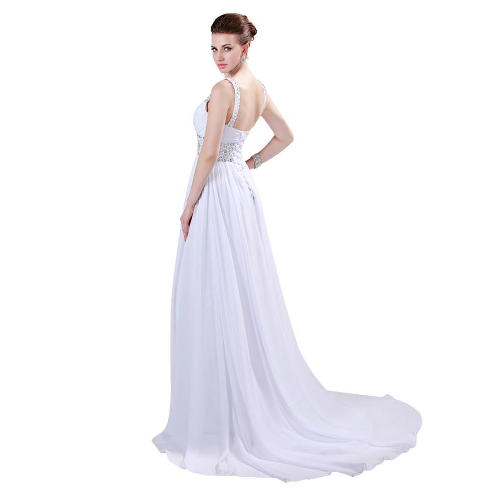 Grace Karin White Evening Dress Long Chiffon Crystals Formal Evening Gowns Elegant Special Occasion Dress-Dress-SheSimplyShops