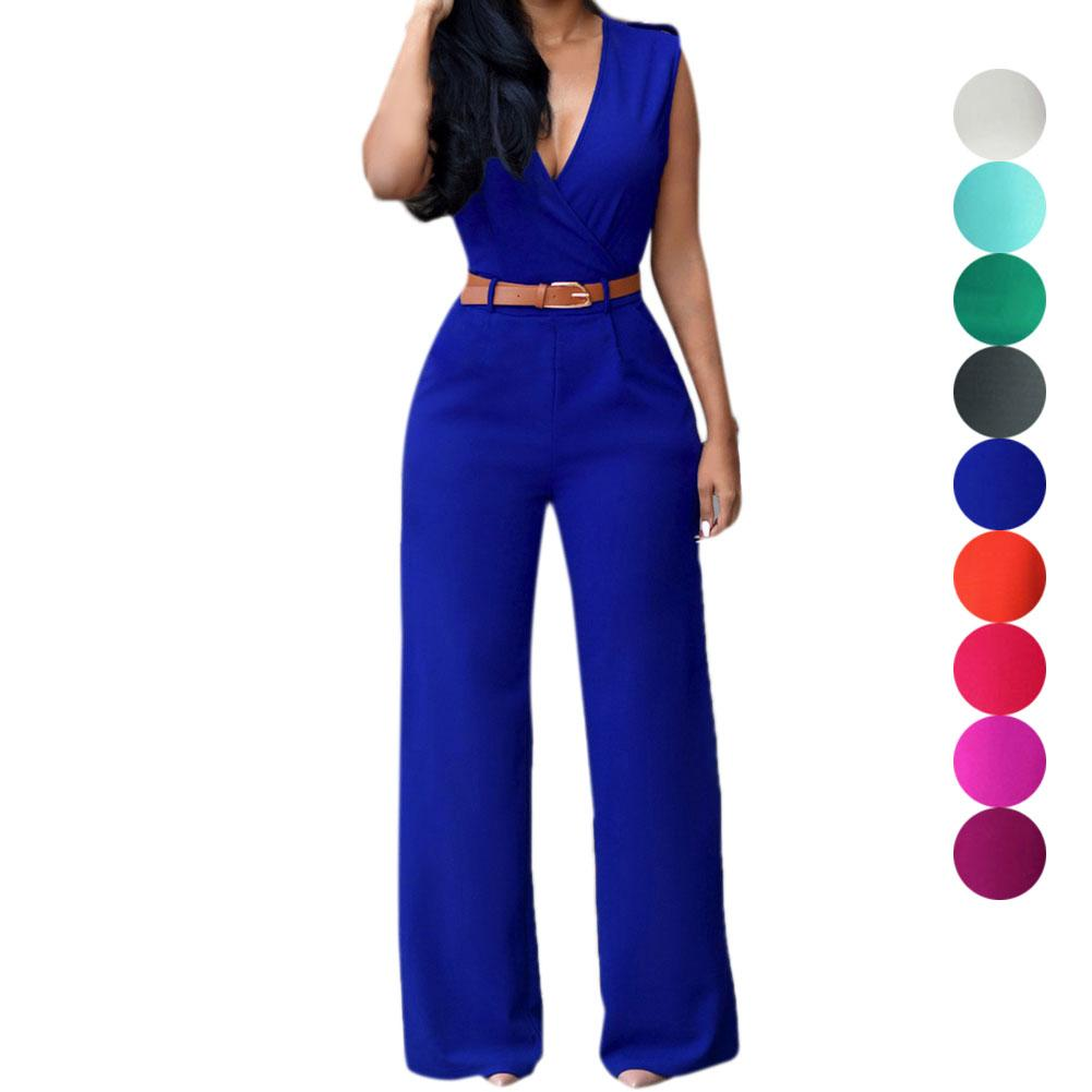 V neck Sleeveless jumpsuit with belts-ROMPERS & JUMPSUITS-SheSimplyShops