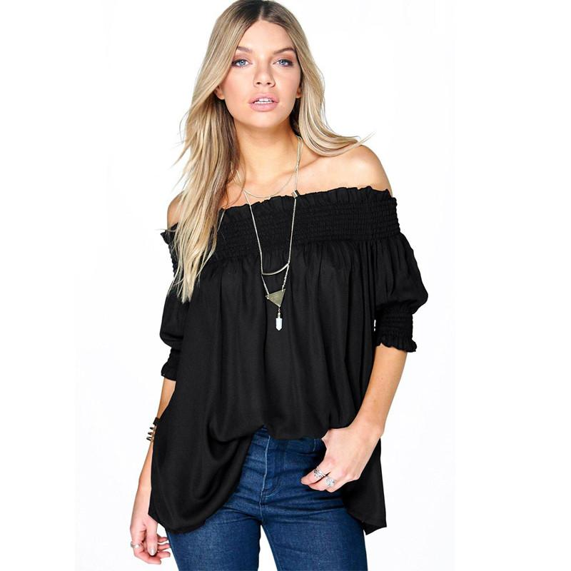 Off The Shoulder Puff Sleeve Blouse-Blouse-SheSimplyShops