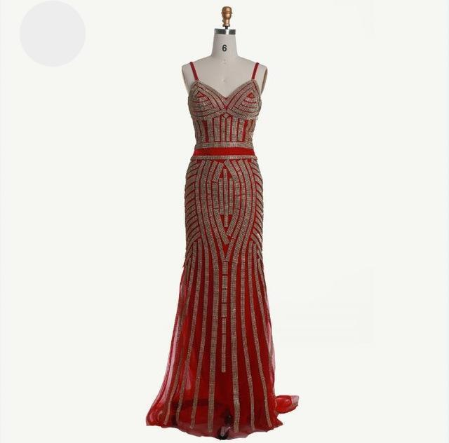 SEXY V-NECK SLEEVELESS CRYSTAL BEADING LONG PROM DRESSES-Dress-SheSimplyShops
