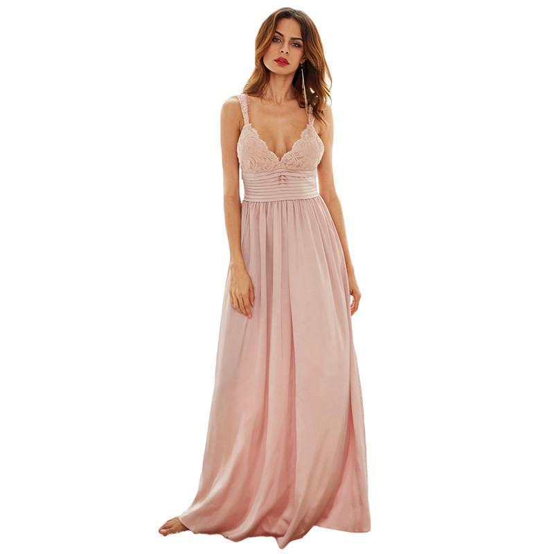 SheIn Long Party Dresses For Woman Summer Pink Spaghetti Strap Triangle Lace Top Pleated Waist Slip A Line Maxi Dress-Dress-SheSimplyShops