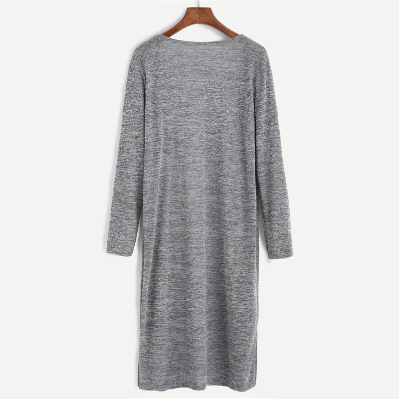 SheIn Womens Cardigan Sweaters Casual Autumn Grey Long Sleeve Open Front Marled Knit Long Cardigan With Pocket-SWEATERS + CARDIGANS-SheSimplyShops