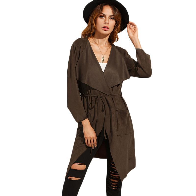 SheIn Autumn Women Casual Outerwear Coats Ladies New Arrival Plain Brown Lapel Long Sleeve Tie Waist Long Outerwear-Coats & Jackets-SheSimplyShops
