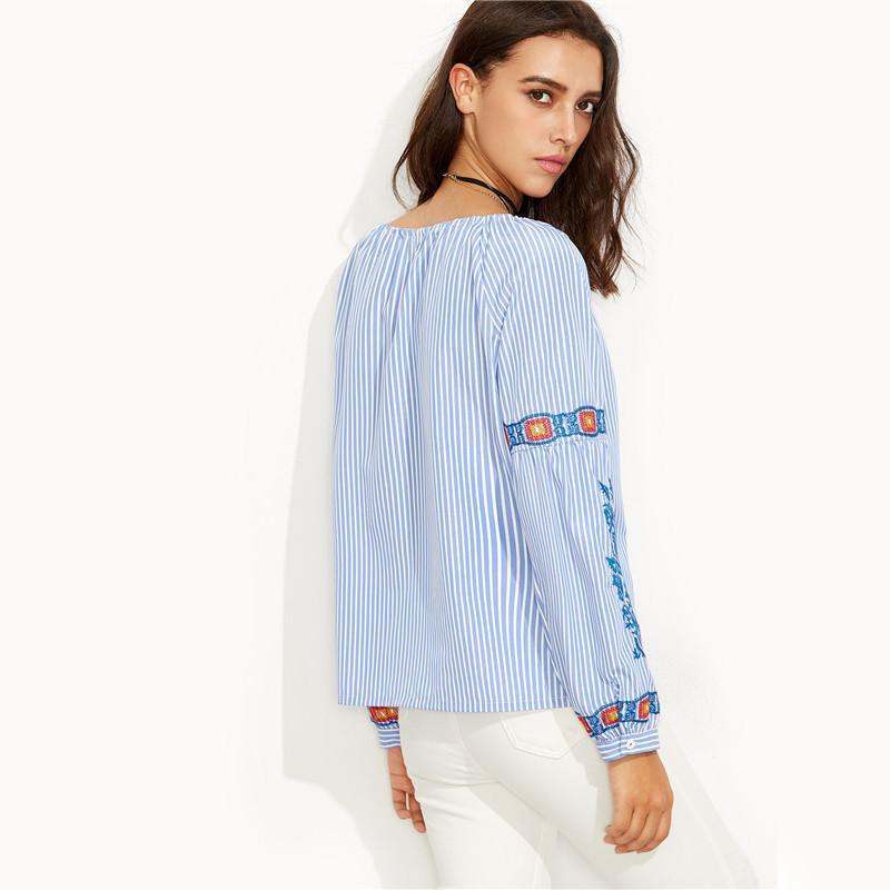 SheIn Womens Casual Blouses For Autumn Ladies Blue Striped Convertible Neck Embroidered Long Sleeve Vintage Blouse-Blouse-SheSimplyShops