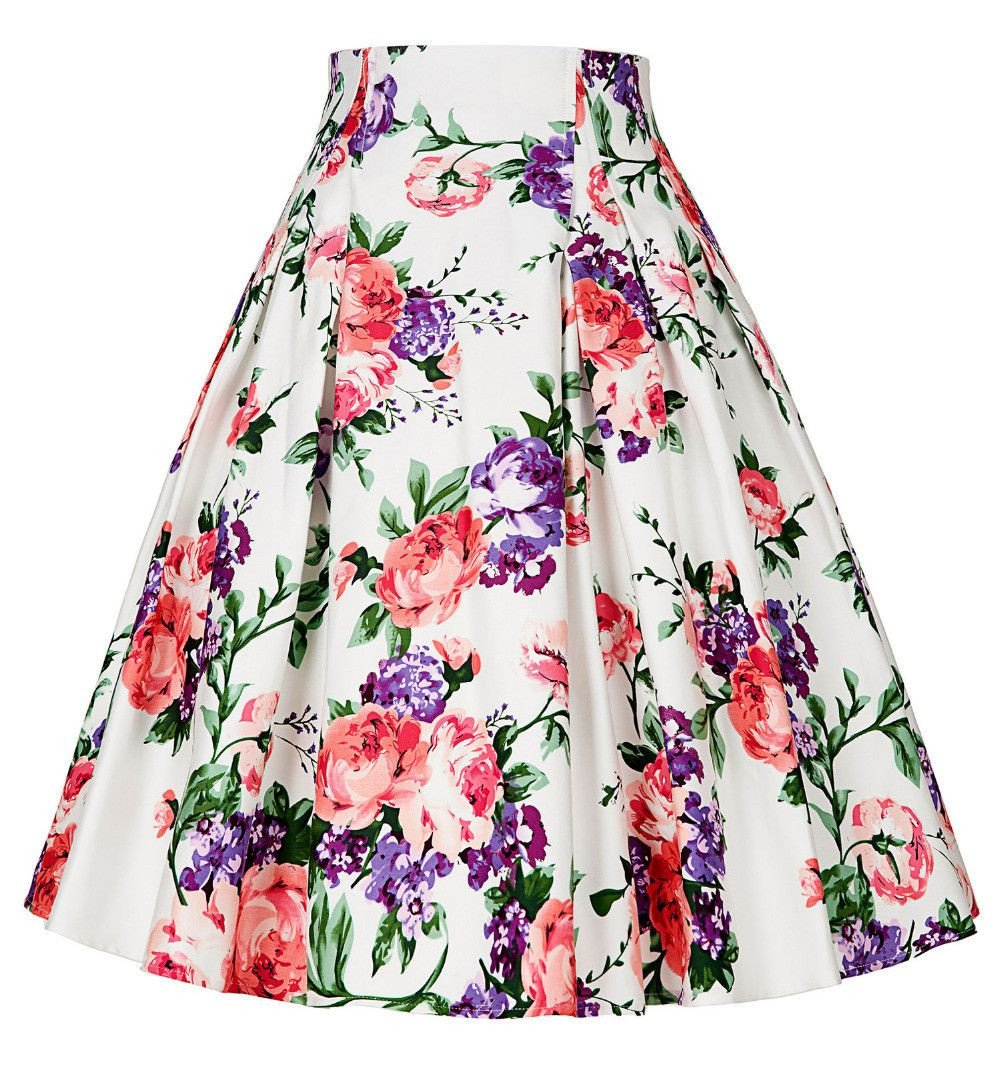 50s Floral print Skirts Women Summer Style Pleated retro Casual Vintage skater skirt patterns saia feminina-Dress-SheSimplyShops