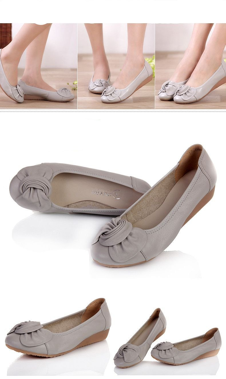 9 Colors Women Genuine Leather Flat Shoes Woman New Fashion Single Casual Shoes Women Flats-SLIPS-SheSimplyShops