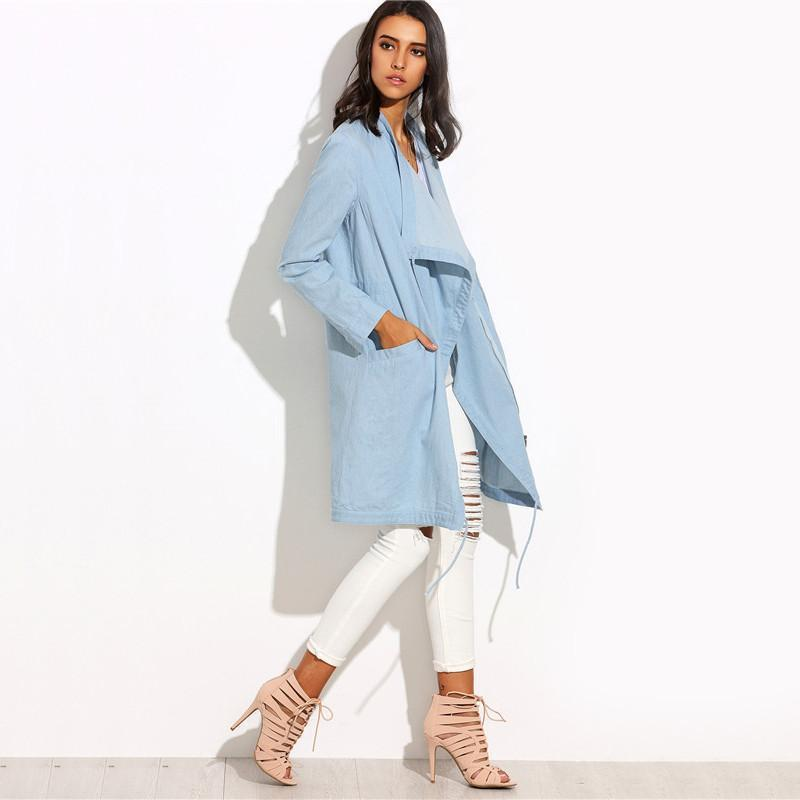SheIn Womens Casual Long Outerwear Coats For Autumn Ladies Plain Blue Lapel With Pockets Split Long Sleeve Outerwear-Coats & Jackets-SheSimplyShops