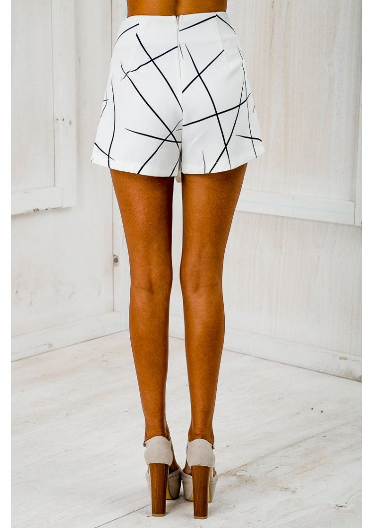 Womens White Sexy Wrap Origami Asymmetrical Angled Hem Geometric Print Shorts For Summer-PANTS-SheSimplyShops