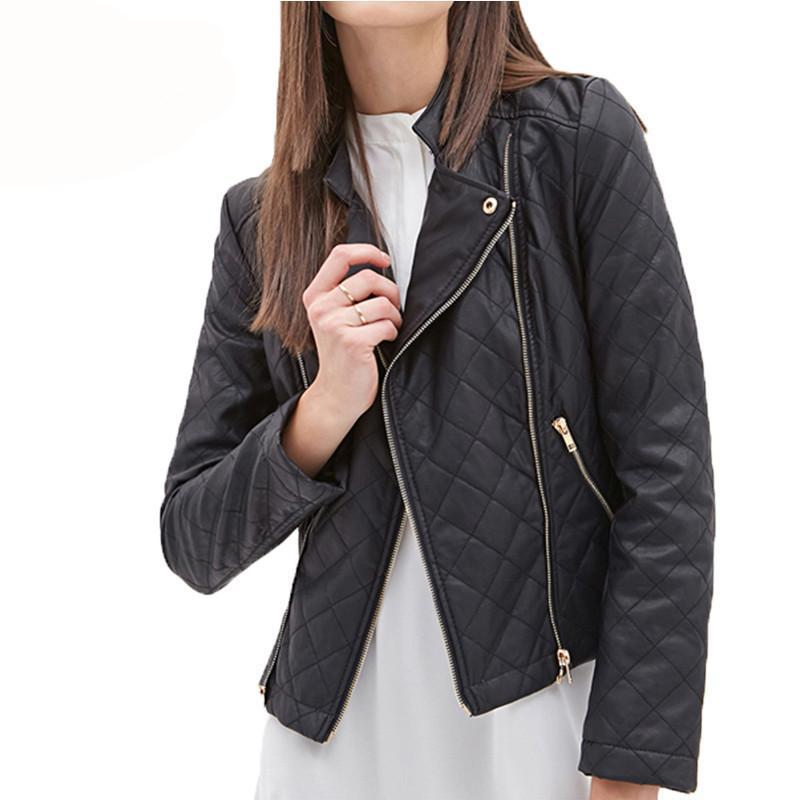 HDY Haoduoyi Autumn Women Fashion Jacket Solid Black Casual Slim Motorcycle Jacket Long Sleeve Stand Collar PU Leather Coat-Coats & Jackets-SheSimplyShops