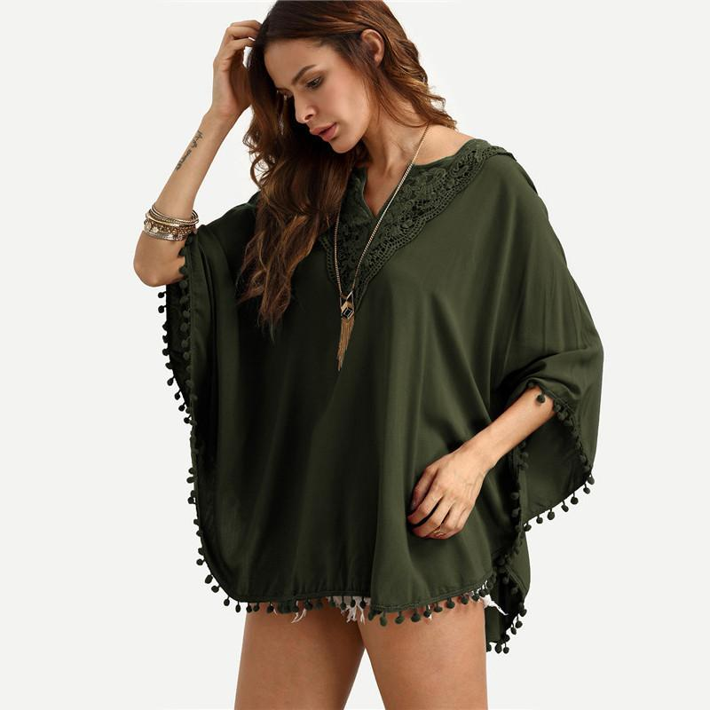 SheIn Womens Tops Vintage Autumn V Neck Three Quarter Length Batwing Sleeve Crochet Lace Insert Pom-pom Trim Blouse-Blouse-SheSimplyShops