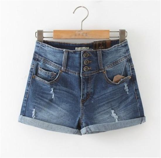 Women Sexy Ripped Denim Shorts Ladies'Casual Mid Waist Cuff Jeans Shorts-JEANS-SheSimplyShops