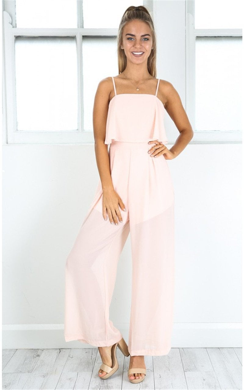 New Woman Sleeveless Spagehetti Strap Ruffle Wide Leg Jumpsuit Chiffon Playsuit-ROMPERS & JUMPSUITS-SheSimplyShops