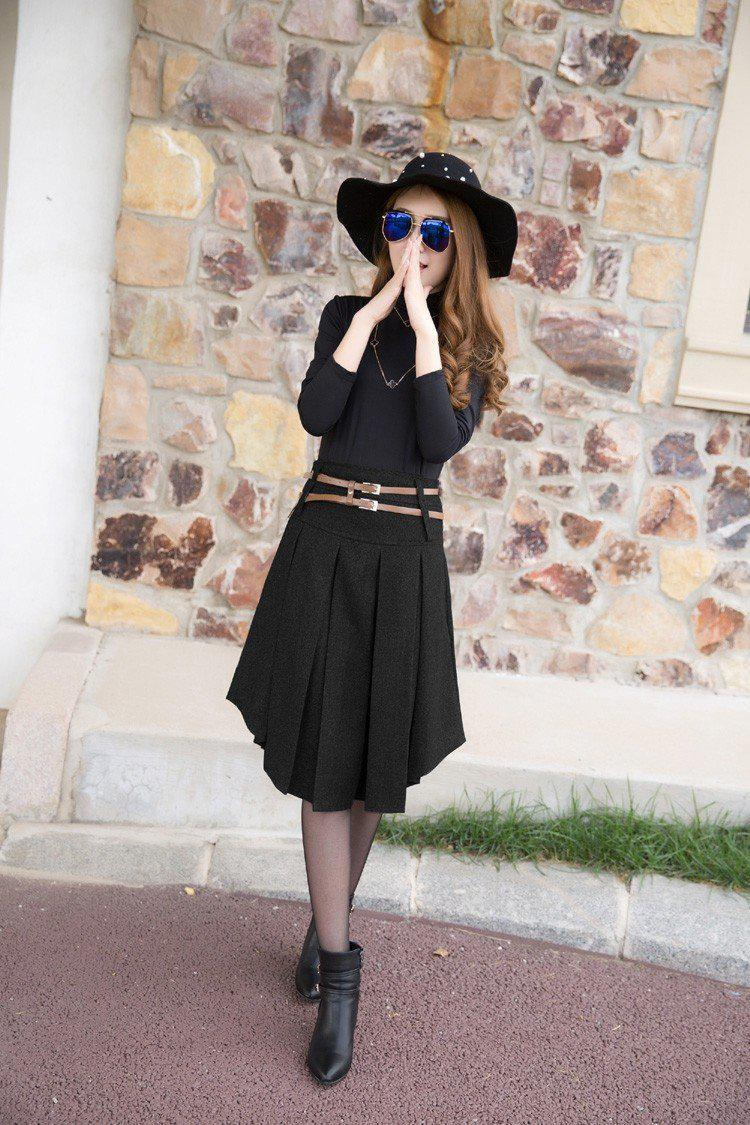 New Retail 2 Color Solid Irregular Pleated Skirt-Dress-SheSimplyShops