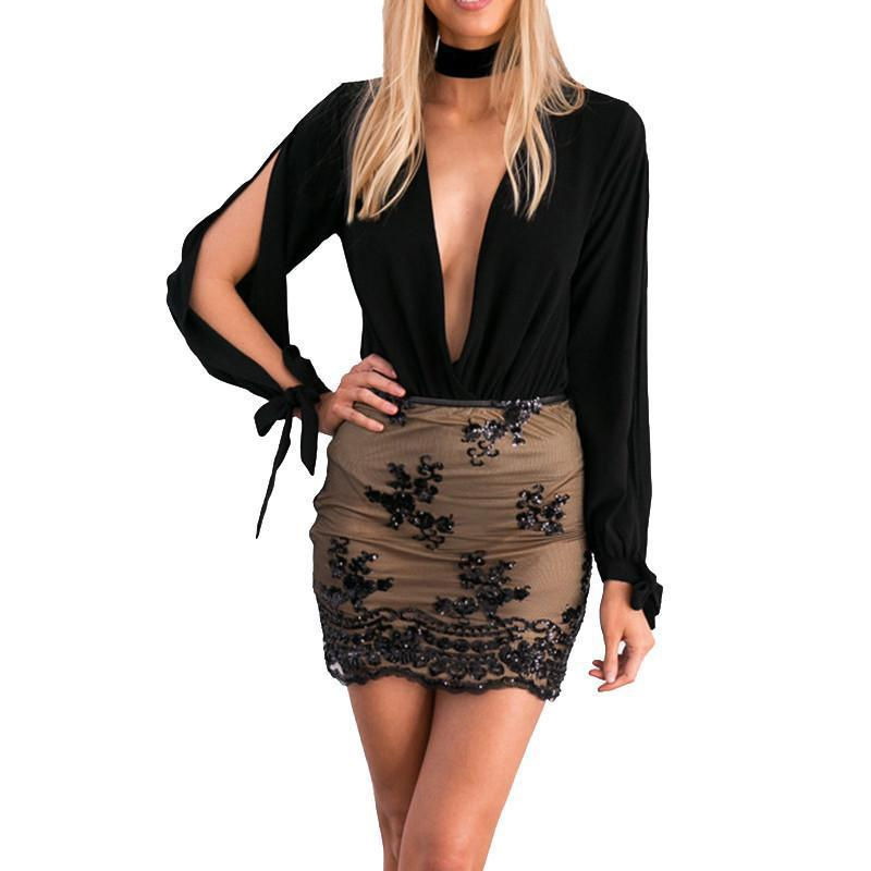 HDY Haoduoyi Autumn Women Fashion Sexy Slim Casual Soft High-waisted Pencil Skirt Solid Black Sequined Mini Skirt-Dress-SheSimplyShops
