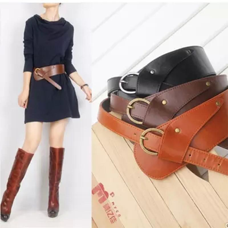 Fashion PU Leather Vintage Waist Belts for Women oblique buckle wide strap cross body Women cummerbund belt Obi female wide-BELTS-SheSimplyShops