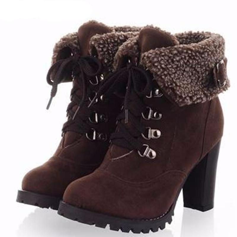 Fashion Thick High Heel Shoes Women Boots Pointed Toe Ankle Boots with Platform Wnter Lace-up Warm Snow Boots-BOOTS-SheSimplyShops