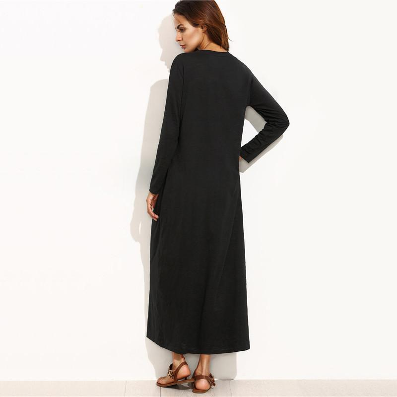 Scoop Neck Long Sleeve Maxi Dress-Dress-SheSimplyShops