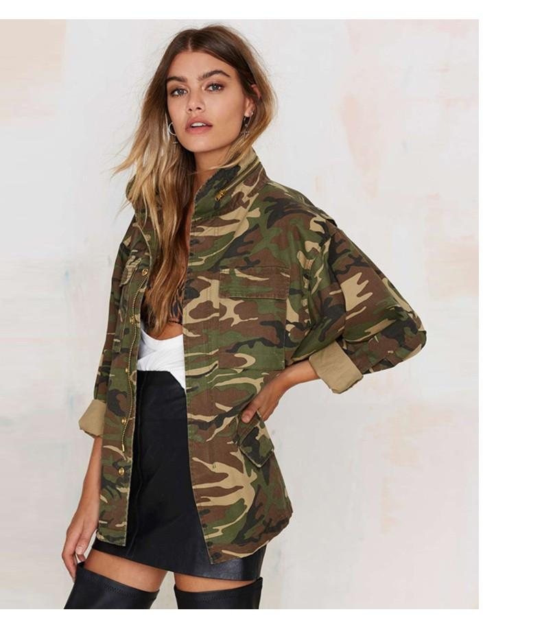 Women Loose Camouflage Stand Collar Pocket Long Sleeve Zipper Outwear Jacket-Coats & Jackets-SheSimplyShops