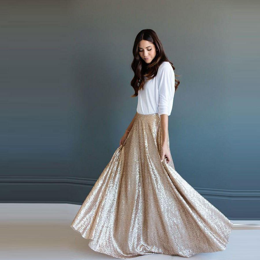 Elegant A-line Floor Length Skirt-Dress-SheSimplyShops