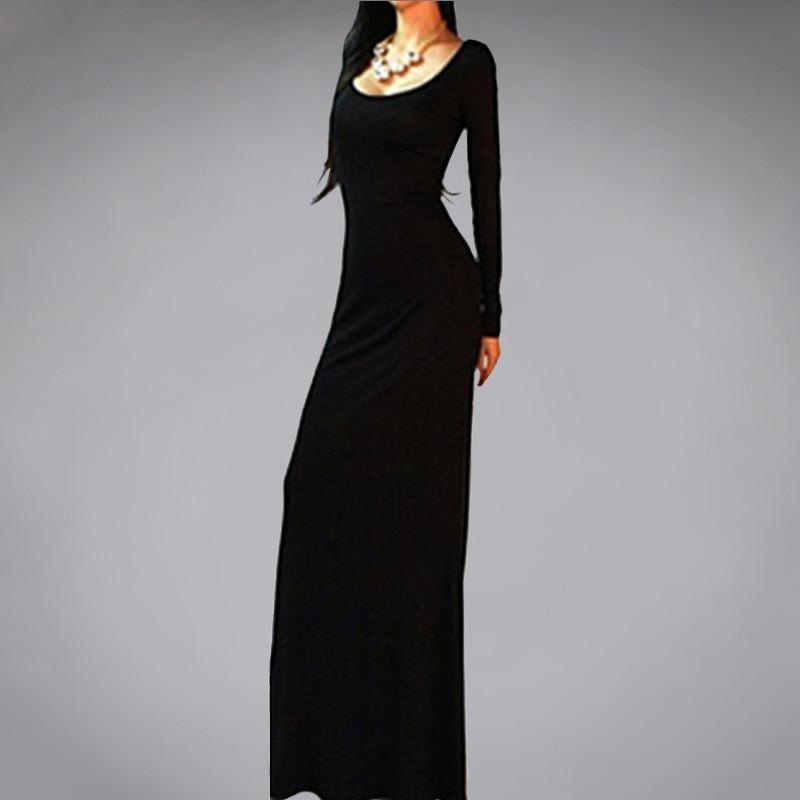 Sexy Long Sleeve Backless Maxi Dress-Dress-SheSimplyShops