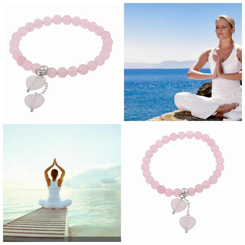 7 Chakra 8 mm Yoga Bracelet For Woman Rose Quartz Crystal Yoga Life Energy Chakra Bracelet Natural Stone Bracelets & Bangles-BRACELETS-SheSimplyShops
