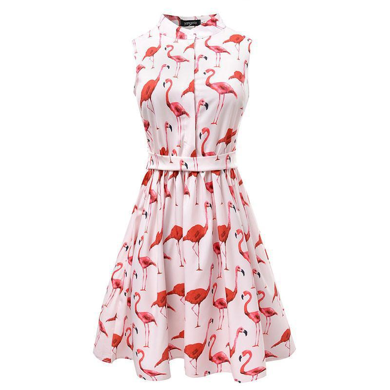 Flamingo Fun Flare Prints Casual High Waist Cute A Line Mini Dresses-Dress-SheSimplyShops
