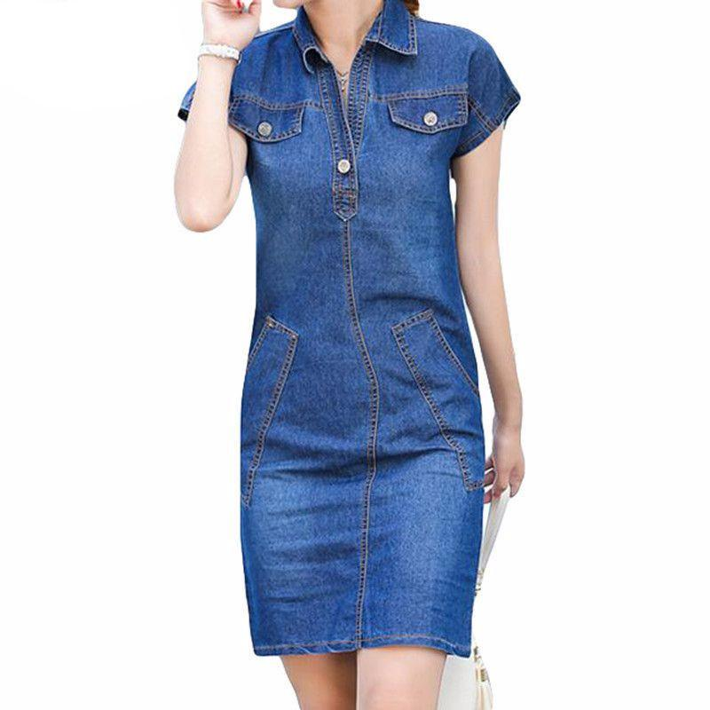 Turn-down Collar Short Sleeve Denim Dress-Dress-SheSimplyShops