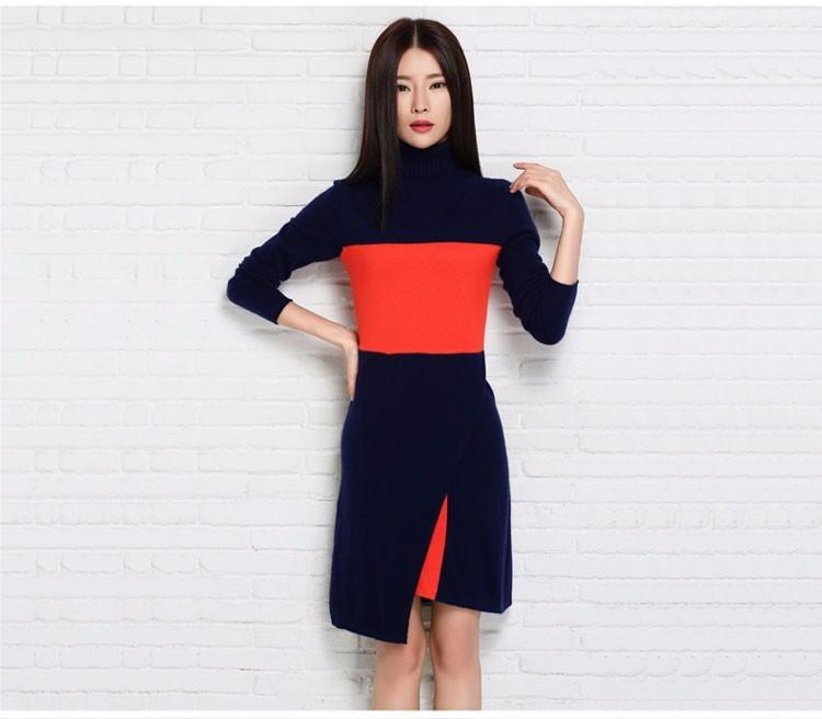 New Fashion Women Dress Cashmere Knitted Sweaters for ladies Turtleneck Winter Warm Pullover Women Clothes-Dress-SheSimplyShops