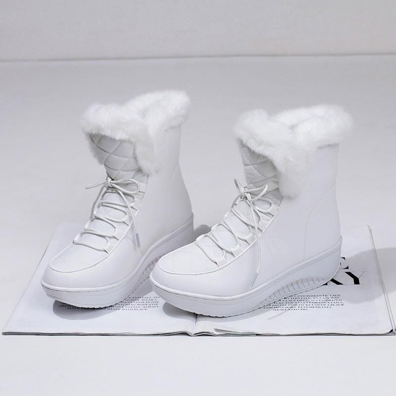 New Arrival Hot Shoes Women Boots Solid Slip-On Soft Cute Women Snow Boots Round Toe Flat with Winter Fur Ankle Boots-SLIPS-SheSimplyShops