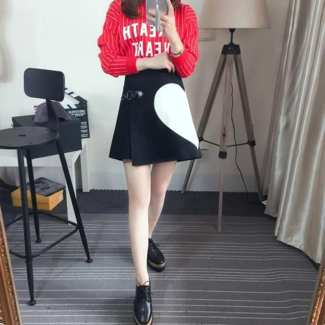 Autumn winter new love heart print woolen women red black asymmetrical wrap skirt with leather buttons-Dress-SheSimplyShops