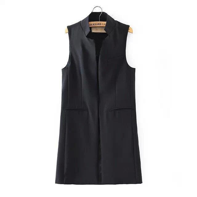 New stylish spring/summer women stand collar long suit vest black white dark blue with two pockets-Coats & Jackets-SheSimplyShops