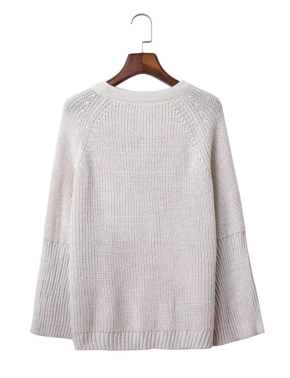 Women Sweater Lace up V Neck Pullover Jumpers Casual Loose knitwear-SWEATERS + CARDIGANS-SheSimplyShops