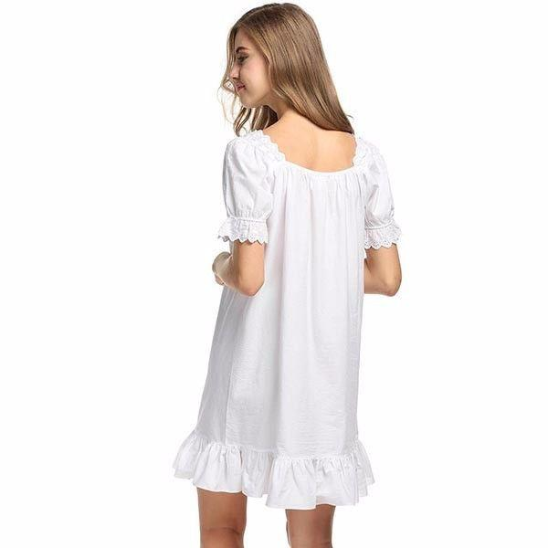 Casual Cotton Night Dress Comfortable Women Sleepwear Square Neck Nightgown White Sleep Lounge Nightwear-Dress-SheSimplyShops