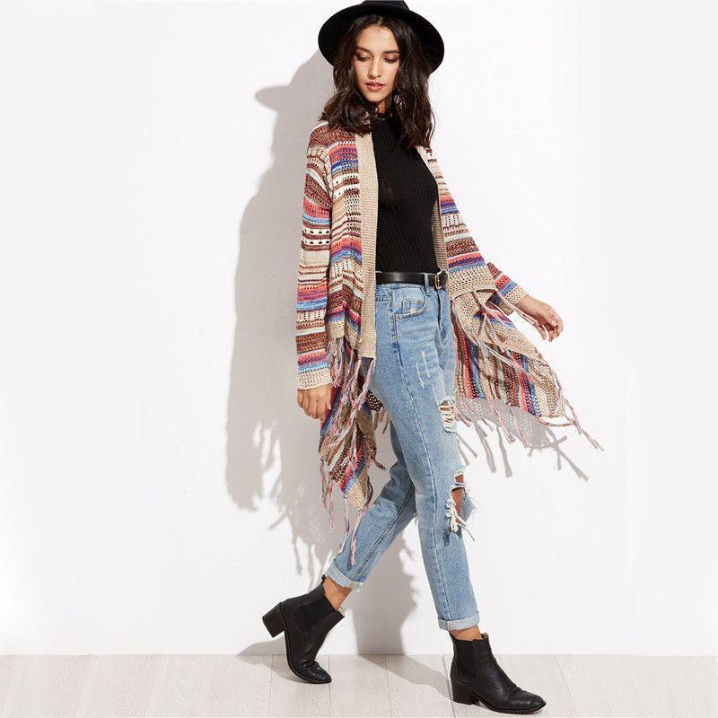 COLROVIE Casual Ladies Knitwear Multicolor Striped Eyelet Fringe Long Sleeve Sweater Open Front Loose Cardigan-SWEATERS + CARDIGANS-SheSimplyShops