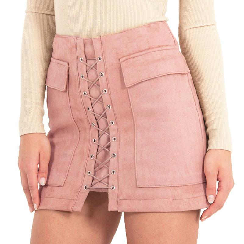 High Waist Lace Up Mini Skirt-Dress-SheSimplyShops