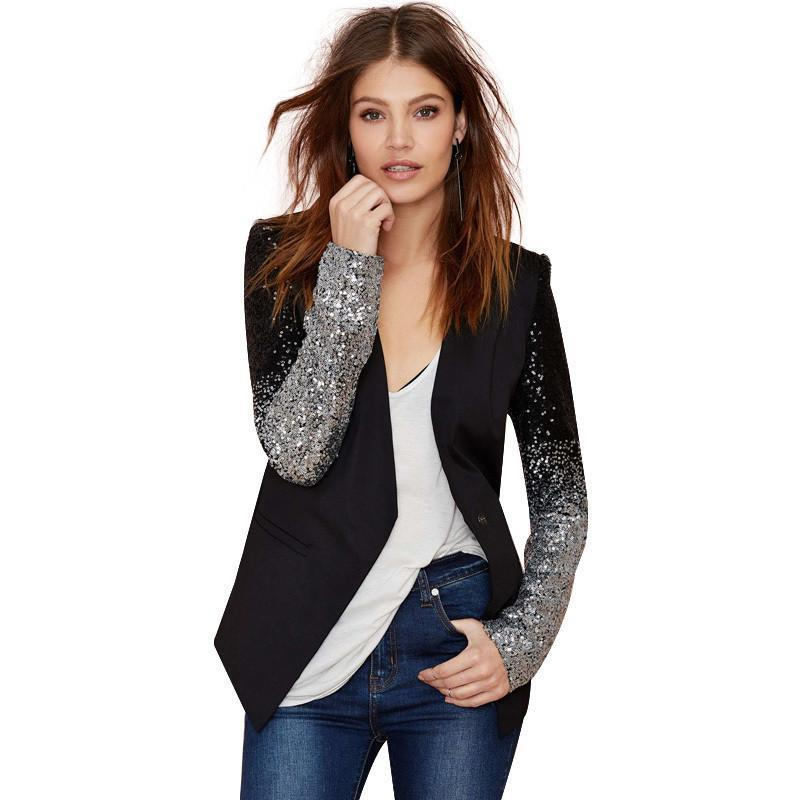HDY Haoduoyi slim women Pu patchwork Black silver sequins Jackets Full sleeve Fashion winter coat-Coats & Jackets-SheSimplyShops