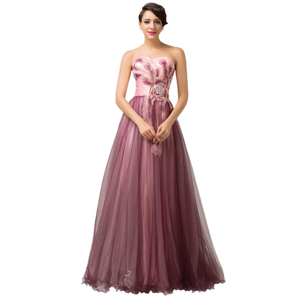 Grace Karin Evening Dresses Abendkleider Peacock Dress Plus Mother of the Bride Dress Long Celebrity Party Formal Gown 6163-Dress-SheSimplyShops