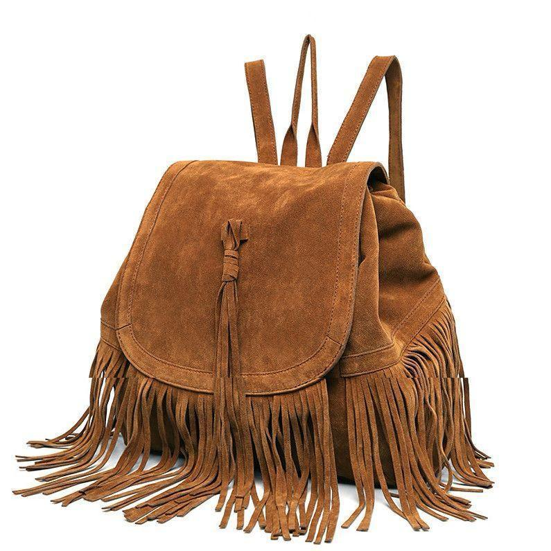 Casual Women Backpack Mini Tassels Rucksack Fashion Solid Women Shoulder Bag Satchel Faux Suede Leather School Bag-BAGS-SheSimplyShops