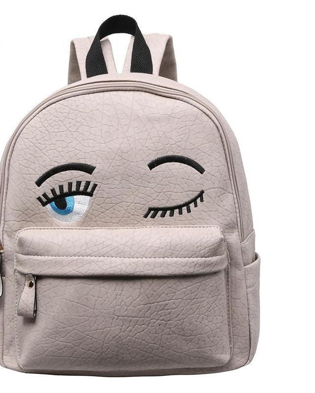 SheIn Women Fashion New Arrival Cheap Online Shops Bags Eyes Pattern PU Cute Backpack-BAGS-SheSimplyShops