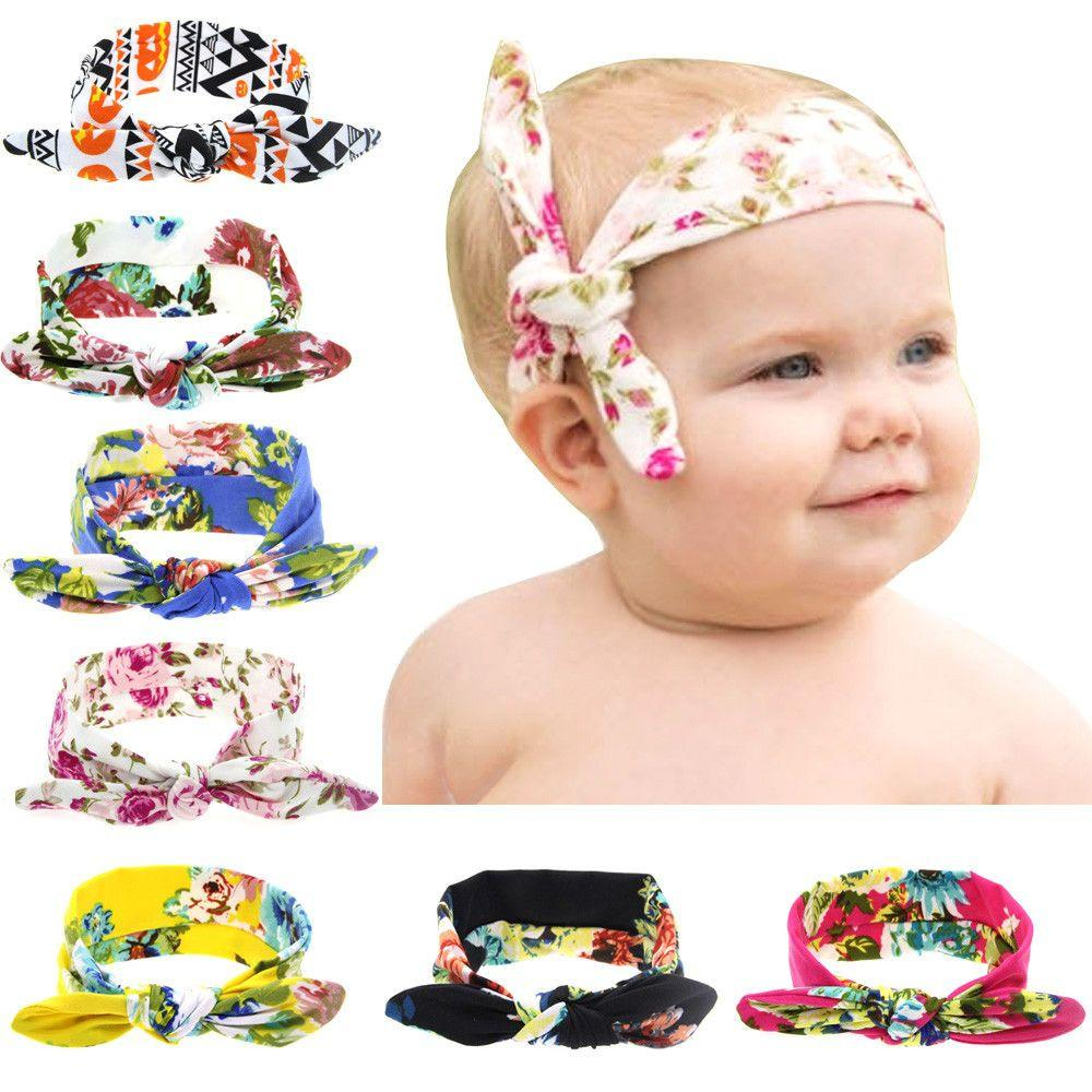 8 Colors Baby Girl Print Top knot Headbands infant newborn elastic Bows Headwear Kids Hair Accessories New Fashion-Tops-SheSimplyShops