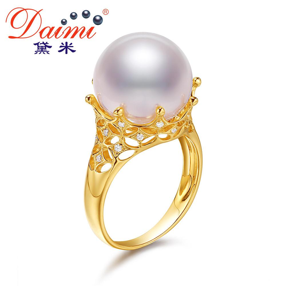Round Freshwater Pearl Ring Pure Yellow Gold Ring Luxury Jewelry-JEWELRY-SheSimplyShops